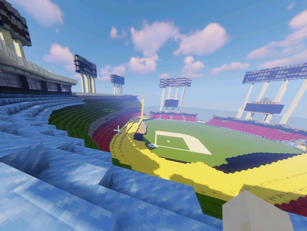 Minecraft model of the Los Angeles Dodger Stadium by using craftplicator.com