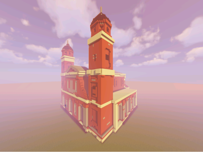 Minecraft model of a church by using craftplicator.com